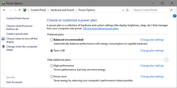 Choose or customize a power plan