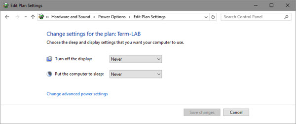 Change settings for the plan: Term-LAB