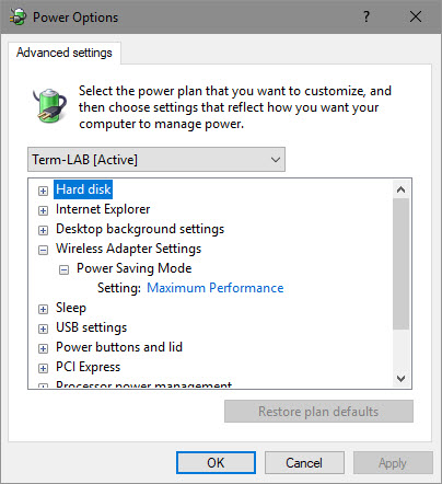 Advanced power settings for Wireless Adapter