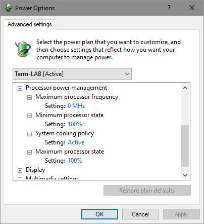 Advanced power settings for Processor